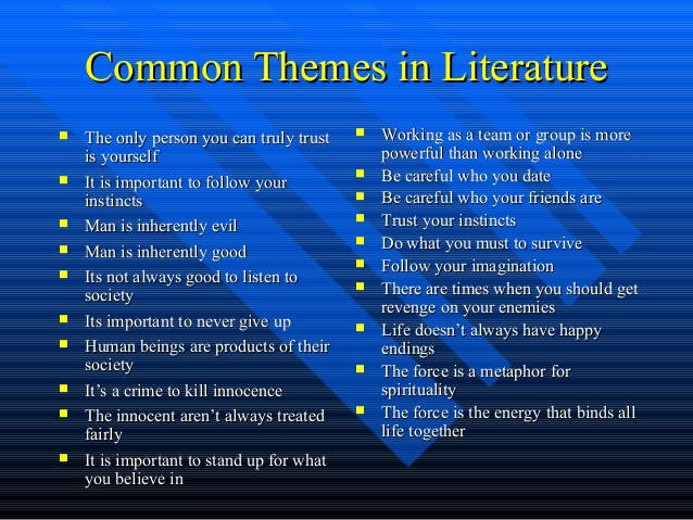 what are examples of themes in literature